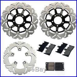 For GSF BANDIT 1200 / S K1 K2 K3 K4 K5 Front Rear Brake Discs Disks Pads Black
