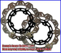 Front VEE Brake Rotors Black for 01-05 Suzuki GSF1200 Bandit Apps
