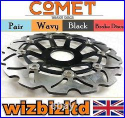 Pair Black Wavy Discs Suzuki GSF600 SY/K1/K2 Faired Bandit 00-2004 W903BK2