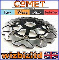 Pair Black Wavy Discs Suzuki GSF 400 V-V/VZ-V Bandit GK7AA 1995-1997 W903BK2
