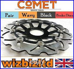 Pair Black Wavy Discs Suzuki GSF 600 S/T/V (Naked Bandit) Year 95-99 W903BK2