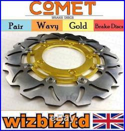 Pair Front Gold Wavy Brake Discs Suzuki GSF 1200 AK6 (Naked Bandit) 2006 W904GD