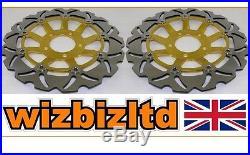 Pair Front Gold Wavy Brake Discs Suzuki GSF 600 K4 (Naked Bandit) 2000-04 WDF903