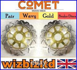 Pair Front Gold Wavy Brake Discs Suzuki GSF 600 X (Naked Bandit) 1995-99 W903GD