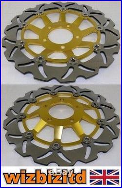 Pair Front Gold Wavy Brake Discs Suzuki GSF 600 X (Naked Bandit) 1995-99 WDF903