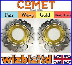 Pair Gold Discs Suzuki GSF1250 K9 0L0 (Naked Bandit Non ABS) 2007-11 W904GD2
