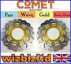 Pair Gold Wavy Discs Suzuki GSF1200 K6/AK6 (Naked Bandit) Year 2006 W904GD2