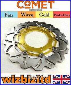 Pair Gold Wavy Discs Suzuki GSF1250 SAK7 (Faired Bandit ABS) 2007-2012 W904GD2
