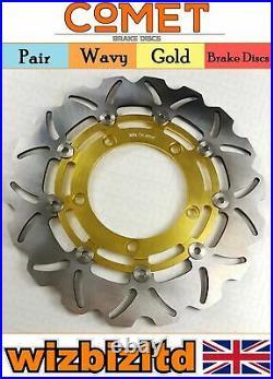 Pair Gold Wavy Discs Suzuki GSF1250 SAZK9 SAL0 Faired Bandit ABS 2007-12 W904GD2