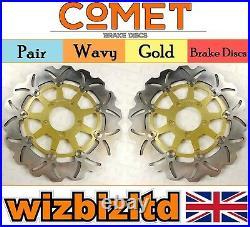 Pair Gold Wavy Discs Suzuki GSF 400 M/N/P Bandit Year 1991-1995 W901GD2