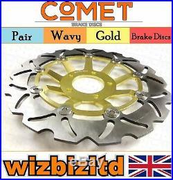 Pair Gold Wavy Discs Suzuki GSF 600 Y/K1/K2/K3/K4 Naked Bandit 2000-2004 W903GD2